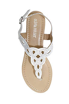 Olivia Miller White Sandals (Crystal Embellished Knot Patterned Sandals)
