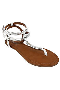 Olivia Miller White Sandals (Baguette Crystal Embellished Sandal)