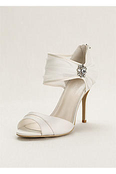Chiffon Ruched Sandal with Crystal Embellishment ONDINE