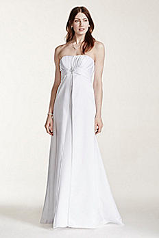 Strapless Satin Gown with Pleated Bodice OP1223