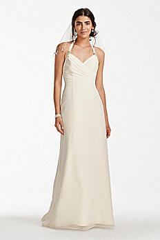 Chiffon Halter Sheath Wedding Dress OP1254