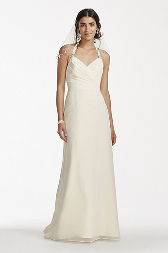 Chiffon Halter Sheath Dress with Halter Neckline OP1254