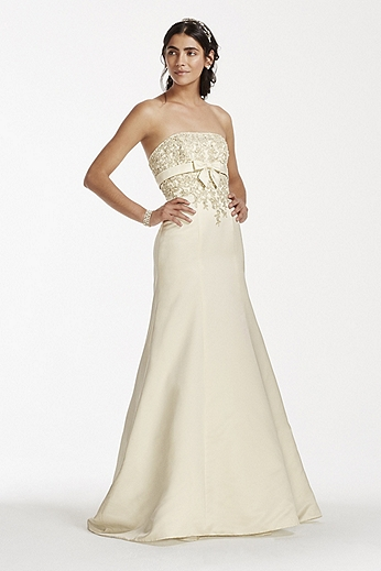 Lace Trumpet gown with Beaded Metallic Lace OP1256