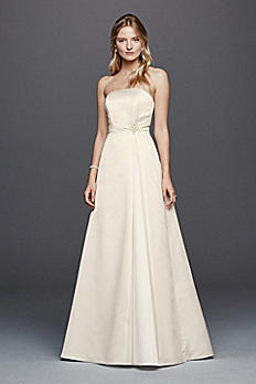 Beaded Satin Wedding Dress with Brooch OP1257