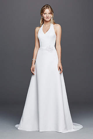 Long A Line Simple Wedding Dress