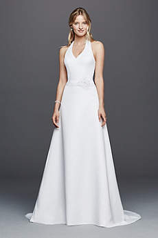 Simple elegant casual wedding dresses david 39 s bridal for Around the neck wedding dresses