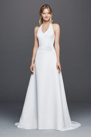 Halter V-neck Wedding Dress with Flower Detail | David's Bridal