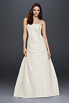 A-Line Wedding Dress with Ruching and Beading OP1266