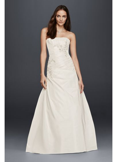 A-Line Wedding Dress with Ruching and Beading   David\'s Bridal