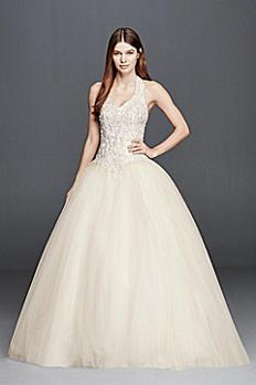 Embellished Halter Wedding Dress with Basque Waist OP1273