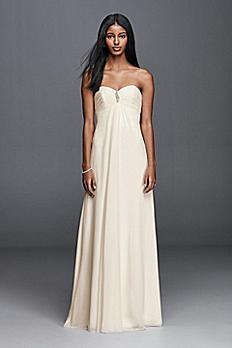 Strapless Chiffon Aline Wedding Dress with Brooch OP1277
