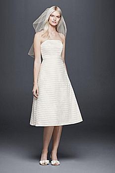 Striped Organza Short Wedding Dress OP1280