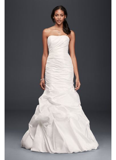 Taffeta mermaid wedding dress with skirt pickups davids bridal long mermaid trumpet formal wedding dress davids bridal collection junglespirit Images