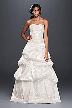 Strapless Satin Wedding Dress with Skirt Pick-Ups OP1290