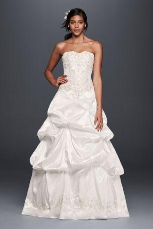 Strapless Satin Wedding Dress with Skirt Pick-Ups | David's Bridal