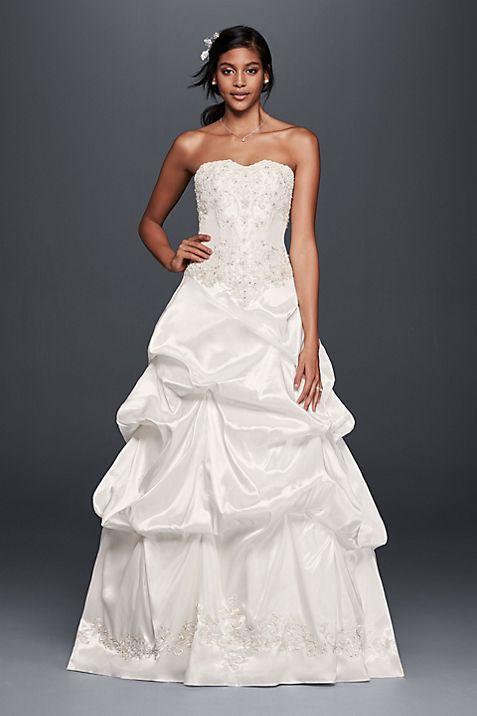 Strapless Satin Wedding Dress with Skirt Pick-Ups | David\'s Bridal