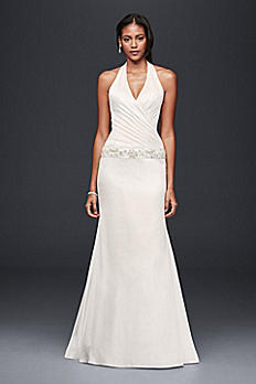 Charmeuse Trumpet Wedding Dress with Beaded Waist OP1294