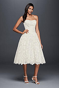 Short Lace Strapless Wedding Dress with Ruching OP1296