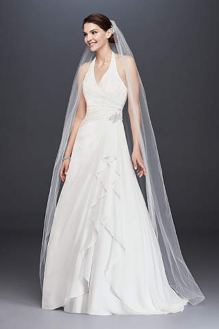 Shop discount wedding dresses wedding dress sale davids bridal pleated chiffon halter wedding dress with ruffle junglespirit