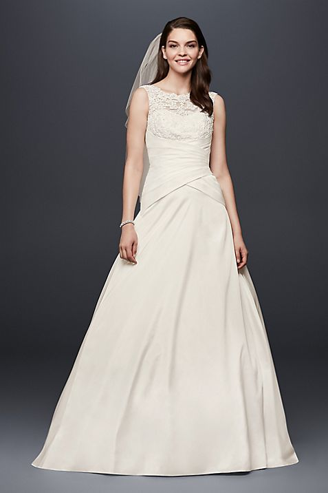 Illusion lace and draped taffeta wedding dress davids bridal junglespirit Choice Image