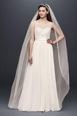 ivory chiffon sheath wedding dress