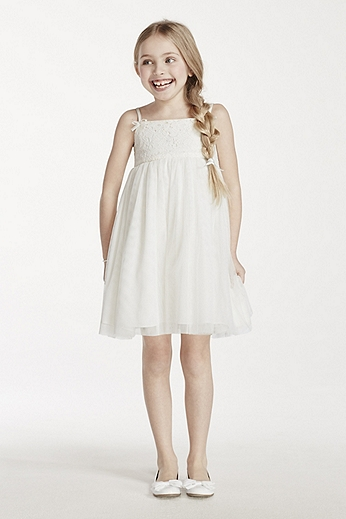 Spaghetti Strap Gown with Lace and Tulle Skirt OP215
