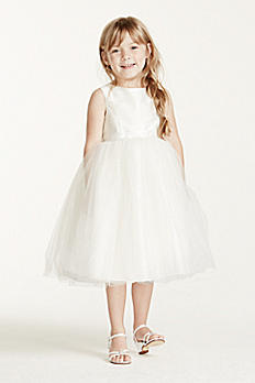 Flower Girl Dress with Tulle and Ribbon Waist OP218