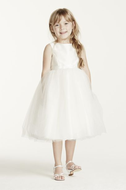 Flower Girl Dress with Tulle and Ribbon Waist | David's Bridal