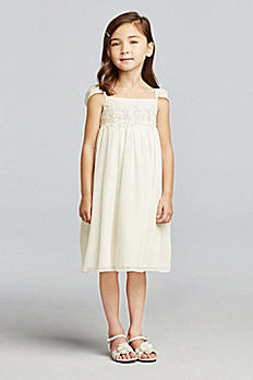 Chiffon Flower Girl Dress with Cap Sleeves OP223