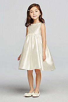 Shantung Tank Tea Length Flower Girl Dress OP225