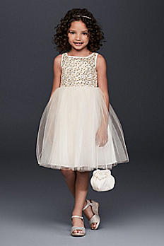 Sequin and Tulle Flower Girl Dress OP229