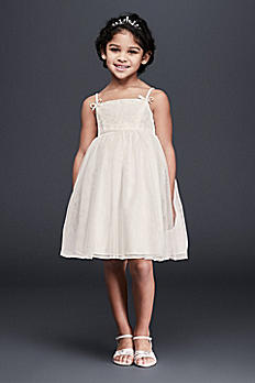 Lace and Tulle Flower Girl Dress with Bows OP233
