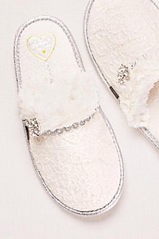 Mule Slipper with Crystal Embellishment OPAL