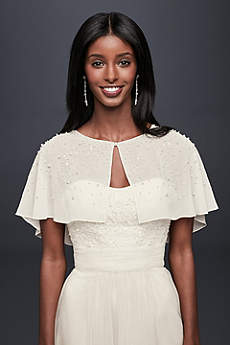 Pearl and Crystal Chiffon Capelet