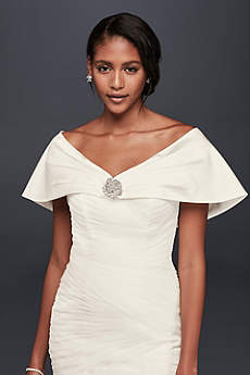 Pleated Satin Wrap with Brooch