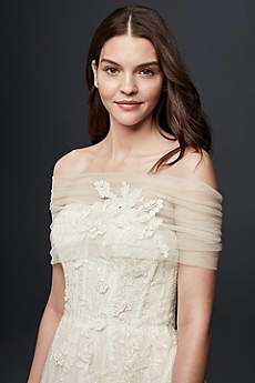 Pleated Tulle Off-the-Shoulder Wrap with Flowers