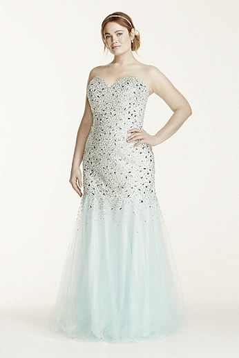 Tulle Fit and Flare Gown with Sweetheart Neckline P1575W