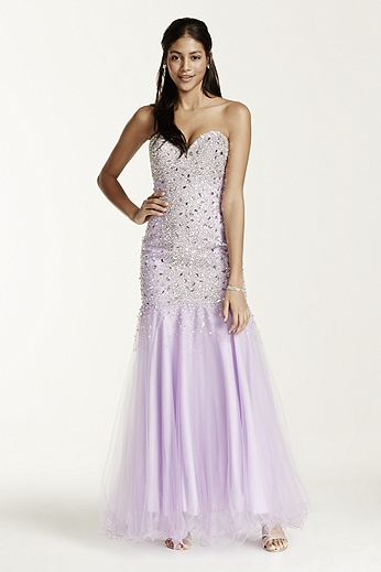 Tulle Fit and Flare Gown with Sweetheart Neckline P1575