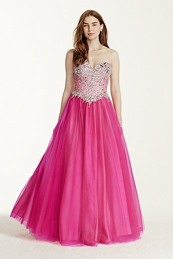 Crystal Embellished Sweetheart Bodice Ball Gown P1631