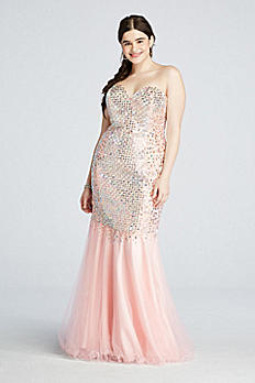 Crystal Beaded Mermaid Prom Dress with Train P3102W