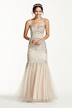 Strapless All Over Beaded Bodice Dress P3123