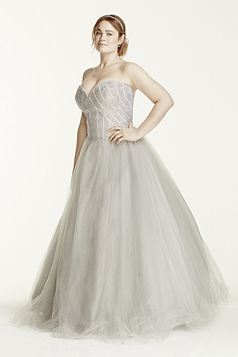Rhinestone Encrusted Bodice Tulle Ball Gown P474W