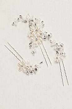 Pearl and Crystal Floral Hairpins P9100