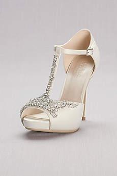 Ivory Pumps (Crystal T-Strap Satin Peep Toe Platform Heels)