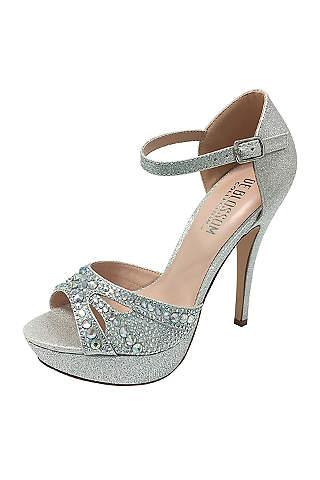 Blossom Grey P Toe Shoes Iridescent Crystal Mary Jane Platform Heels