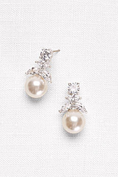 Cubic Zirconia and Pearl Drop Earrings PEARLEARRING