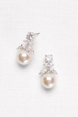 cubic zirconia and pearl drop earrings david s bridal