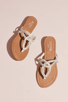 David's Bridal White Flip Flops (Pave Crystal Sandal)