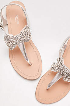 Metallic T-Strap Sandals with Embellished Bow