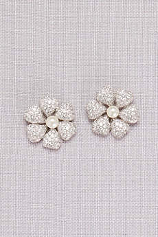 Crystal-Dusted Hibiscus Earrings with Pearls